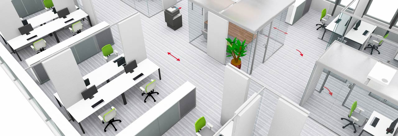 Office space planning with room structures