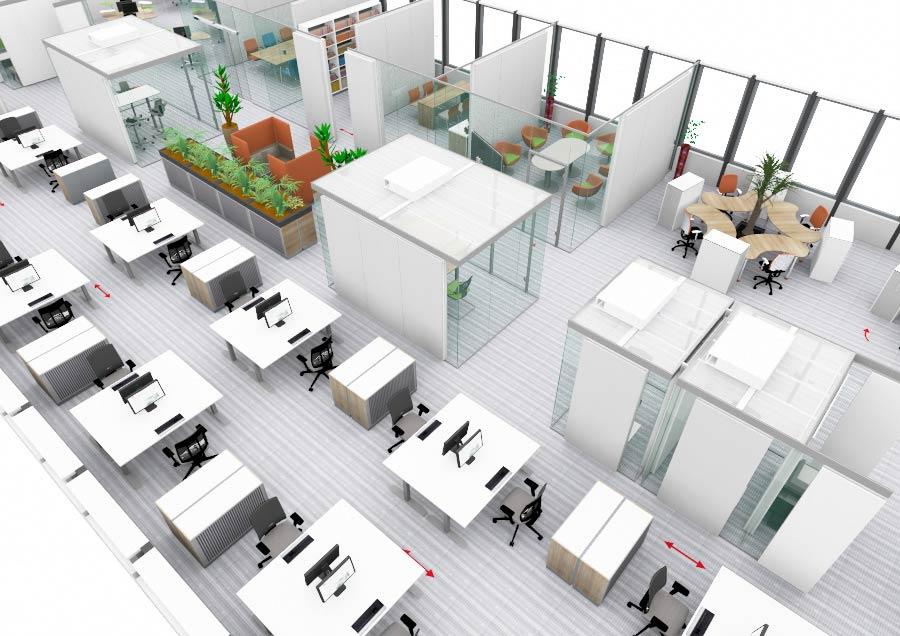 Büroraumplanung mittlere Besiedlungsdichte