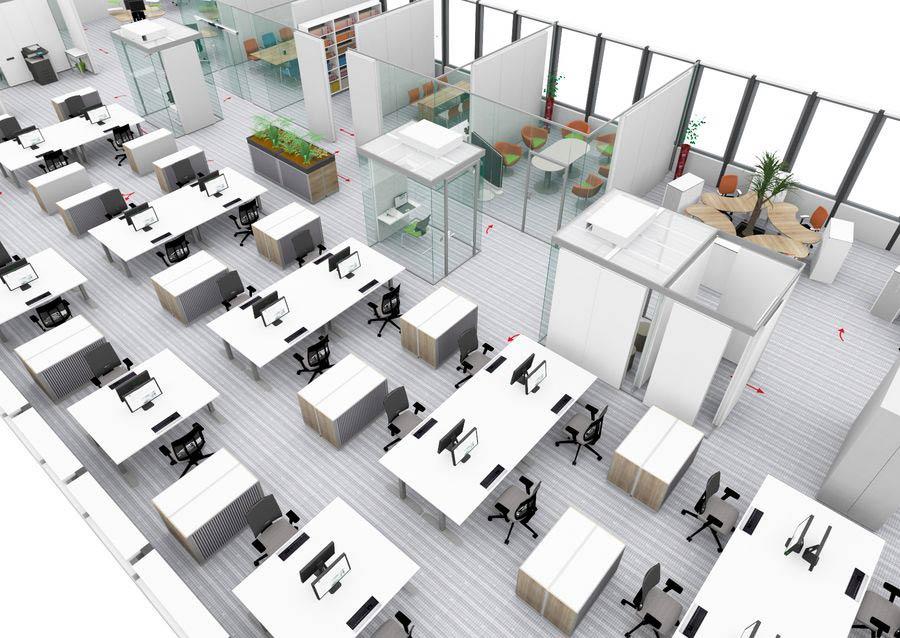 Büroraumplanung mit hoher Arbeitsplatzdichte