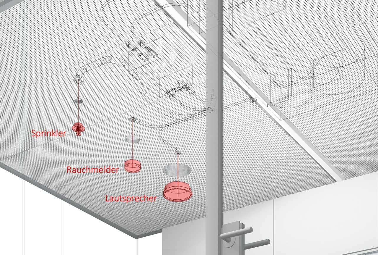Raum in Raum Decke mit Brandschutzeinbauten