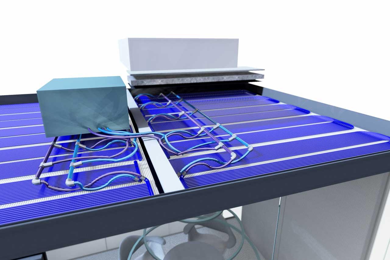 Decke mit Kaltwassersatz und Kaltwassermatten