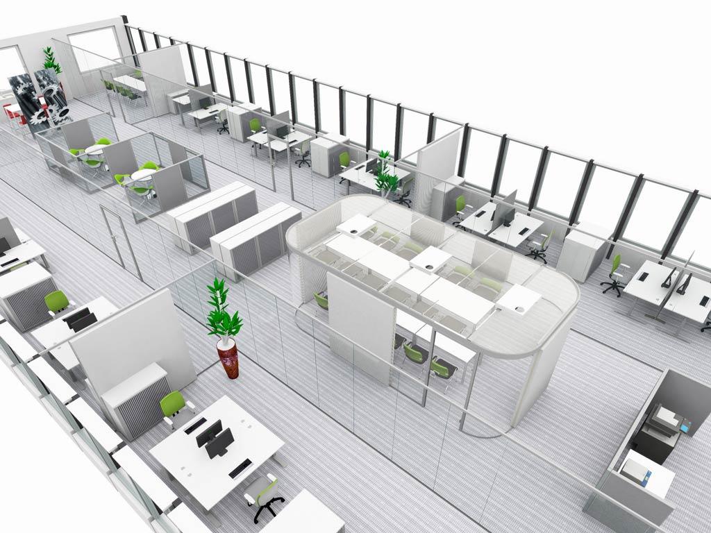 Nurglaswand nutzt Büroflächen effizient