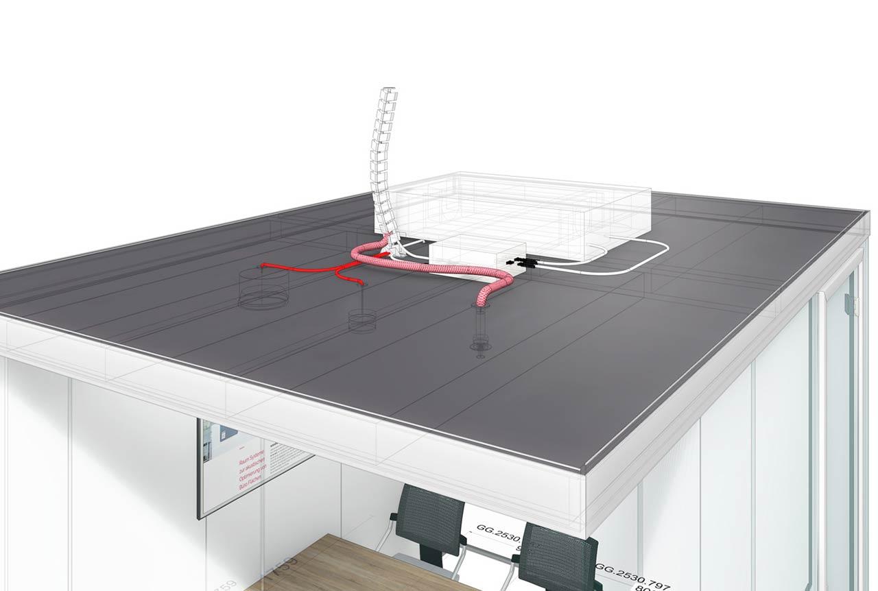 Raum in Raum Decke mit Installation der Brandschutzanlage