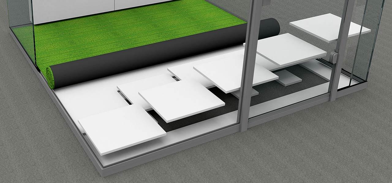 Montage Raum-in-Raum ohne Befestigung am Boden