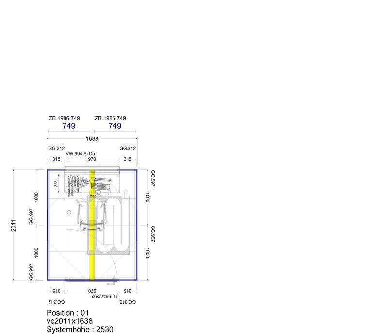 2D Planung Telefonzelle 2 Personen