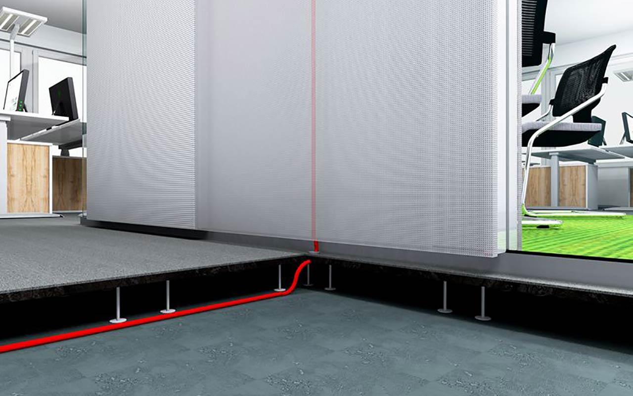 Raum in Raum Anschluss über den Doppelboden