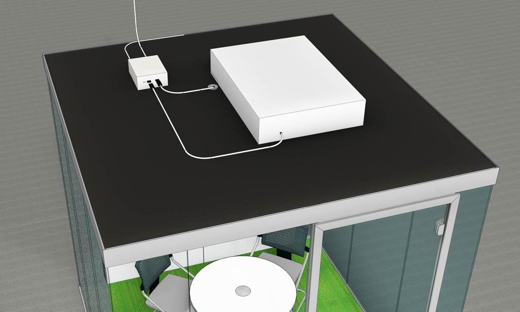 Bild einer Raum in Raum Einheit schräg von oben mit Steuerbox auf dem Deckenelement.